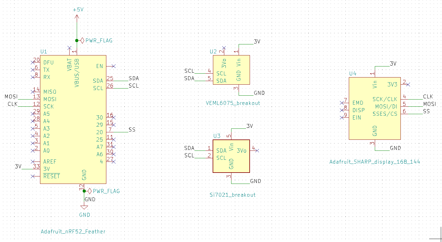 Display sensor values schematic