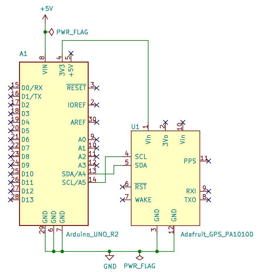 GPS parsing with PA1010D and Arduino UNO with I2C schematic