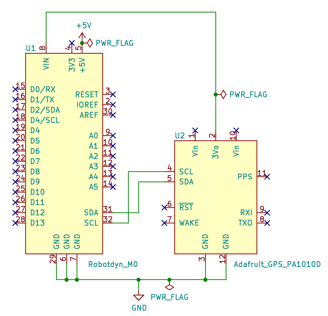 GPS parsing with PA1010D and M0 with I2C schematic