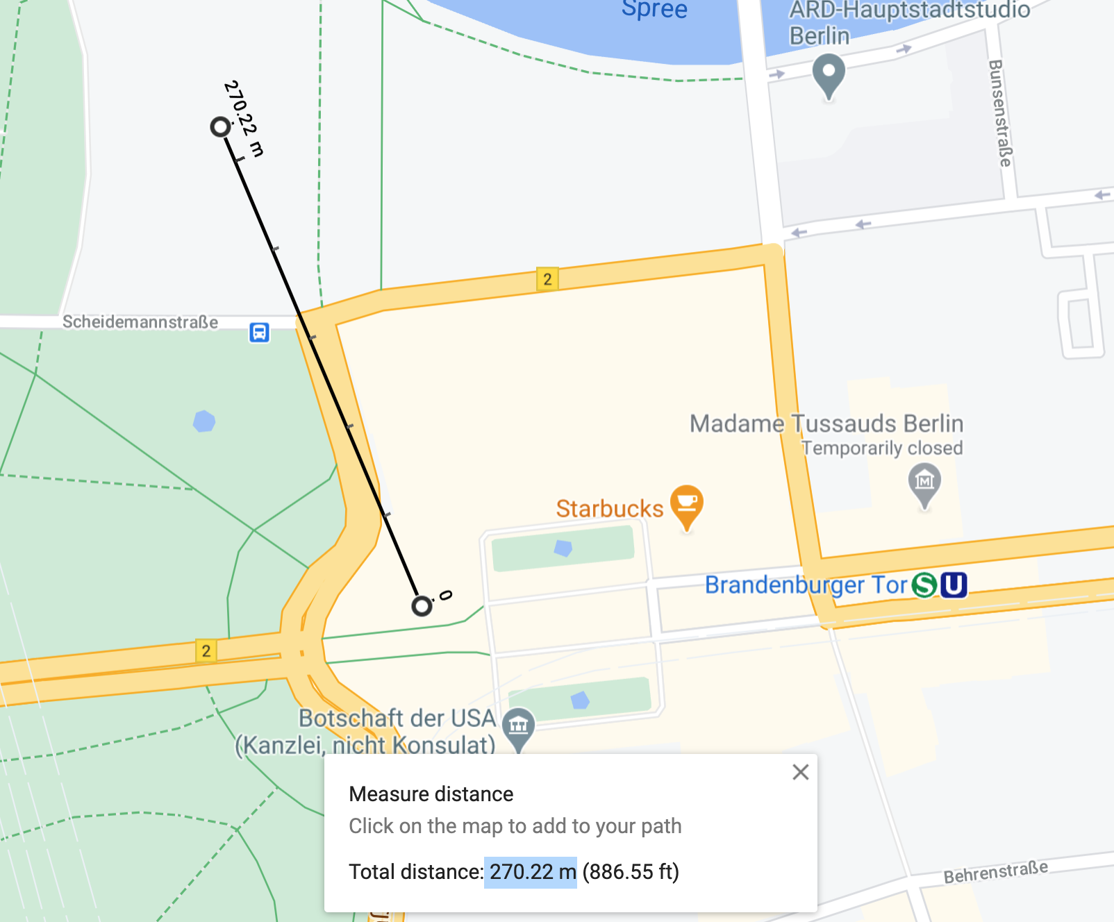 Distance between Reichstag and Brandenburg Gate in Berlin as shown in Google Maps