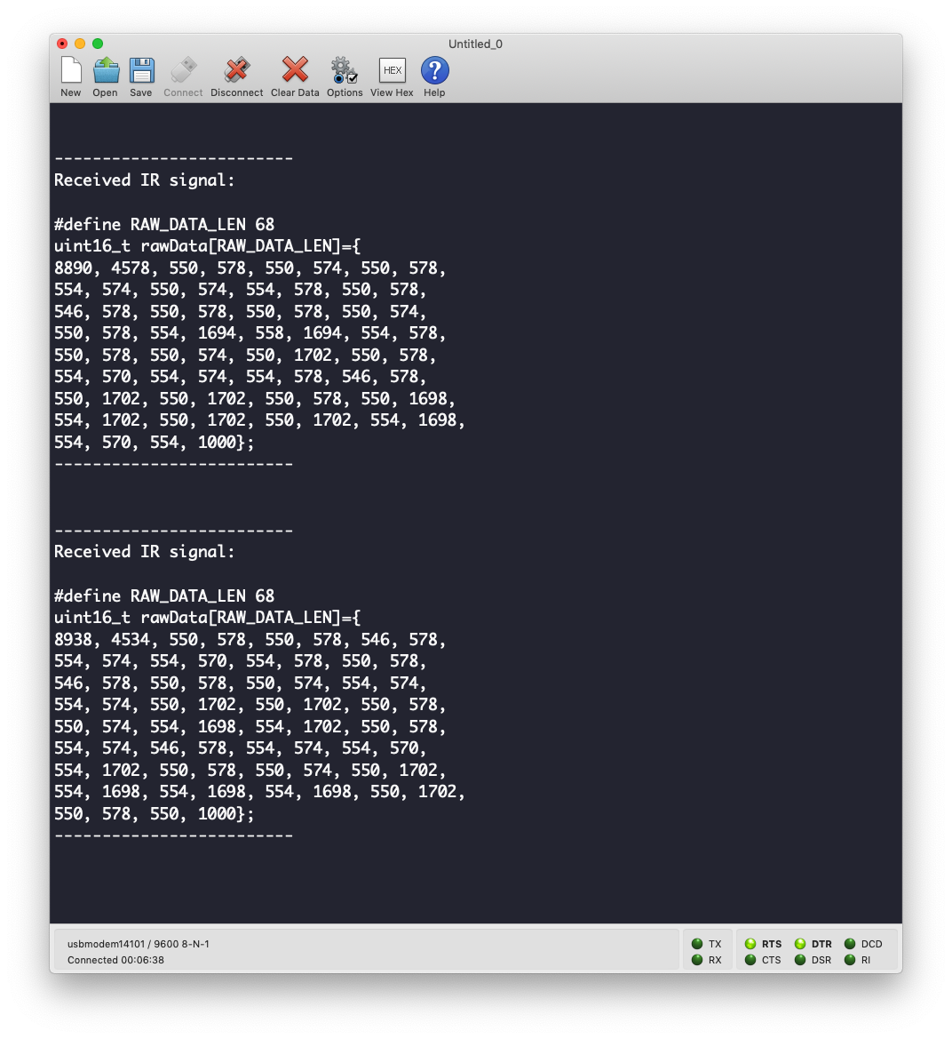 IR Raw code received from Apple TV remote