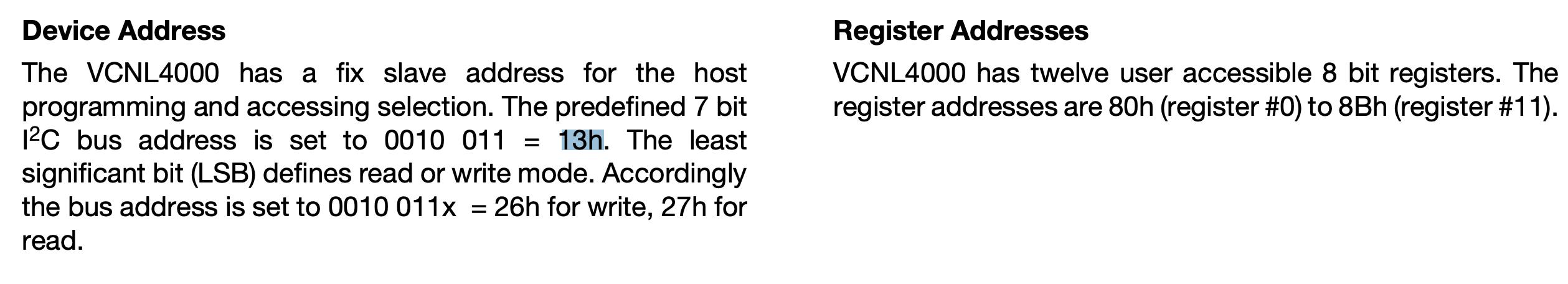 VCNL4000 datasheet note on the I2C address