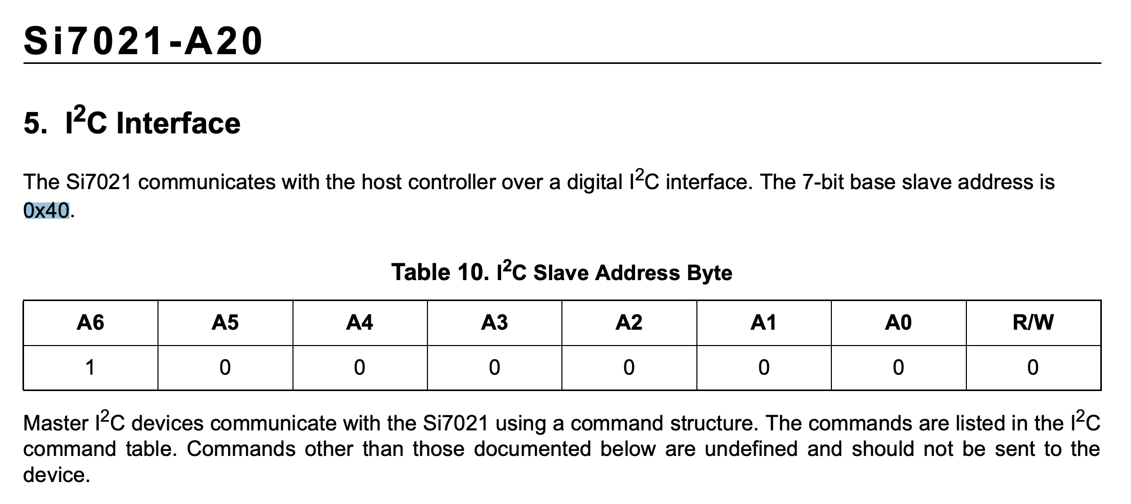 Si7021 datasheet note on the I2C address