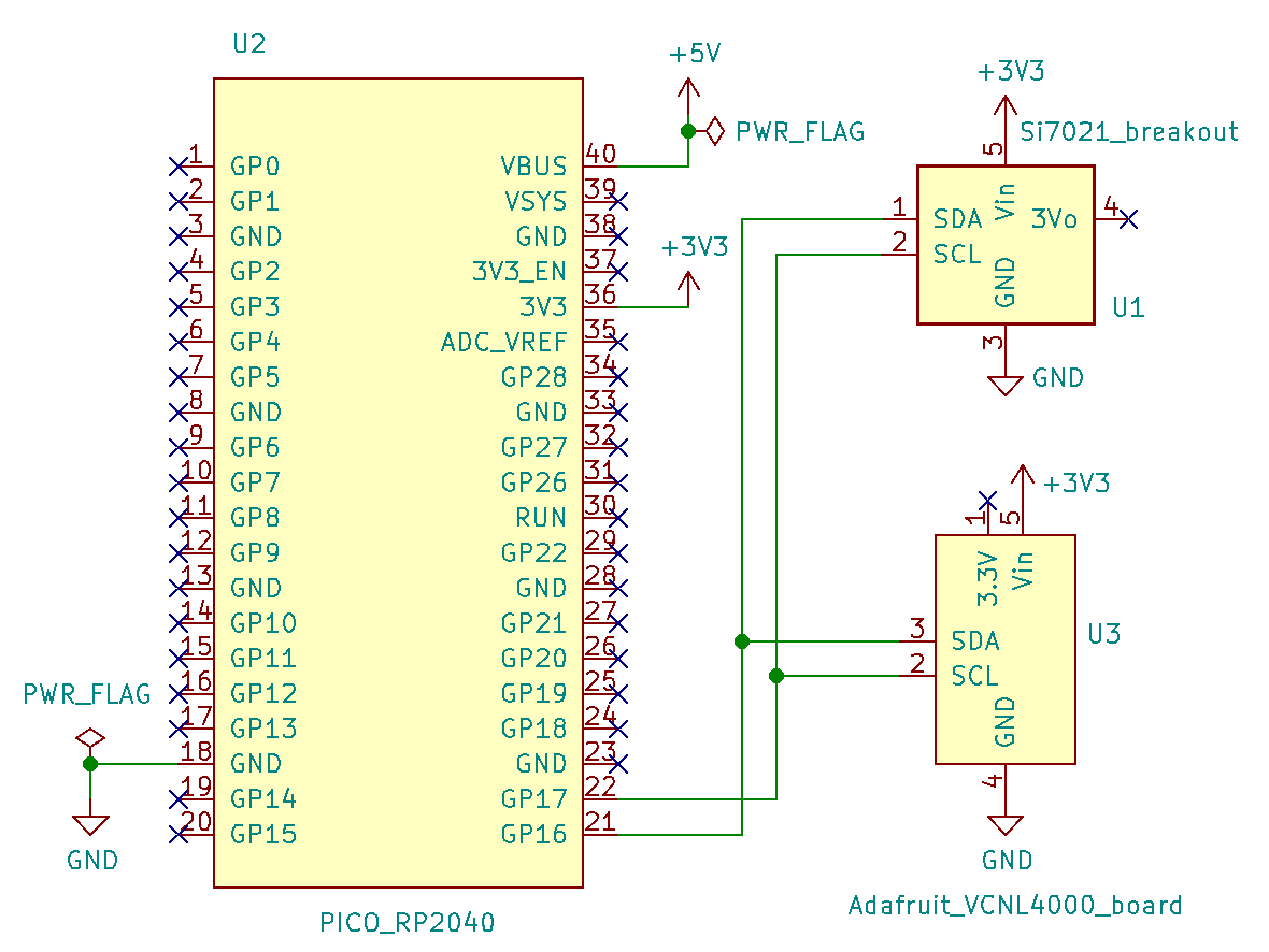 PIO I2C Bus Scan for Sensors Si7021 and VCNL4000 with RPi pico schematic