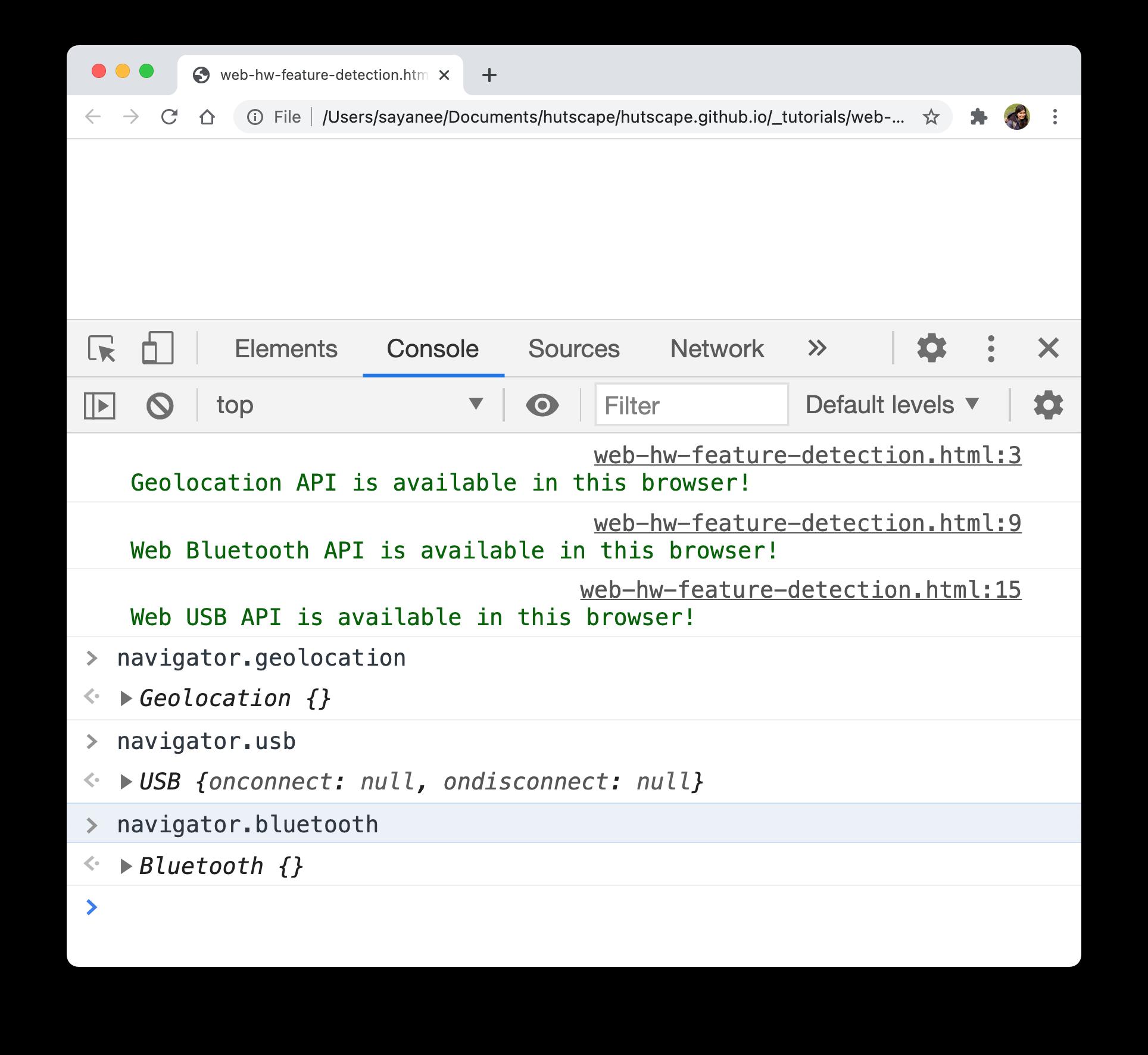 HW APIs availability on Chrome browser