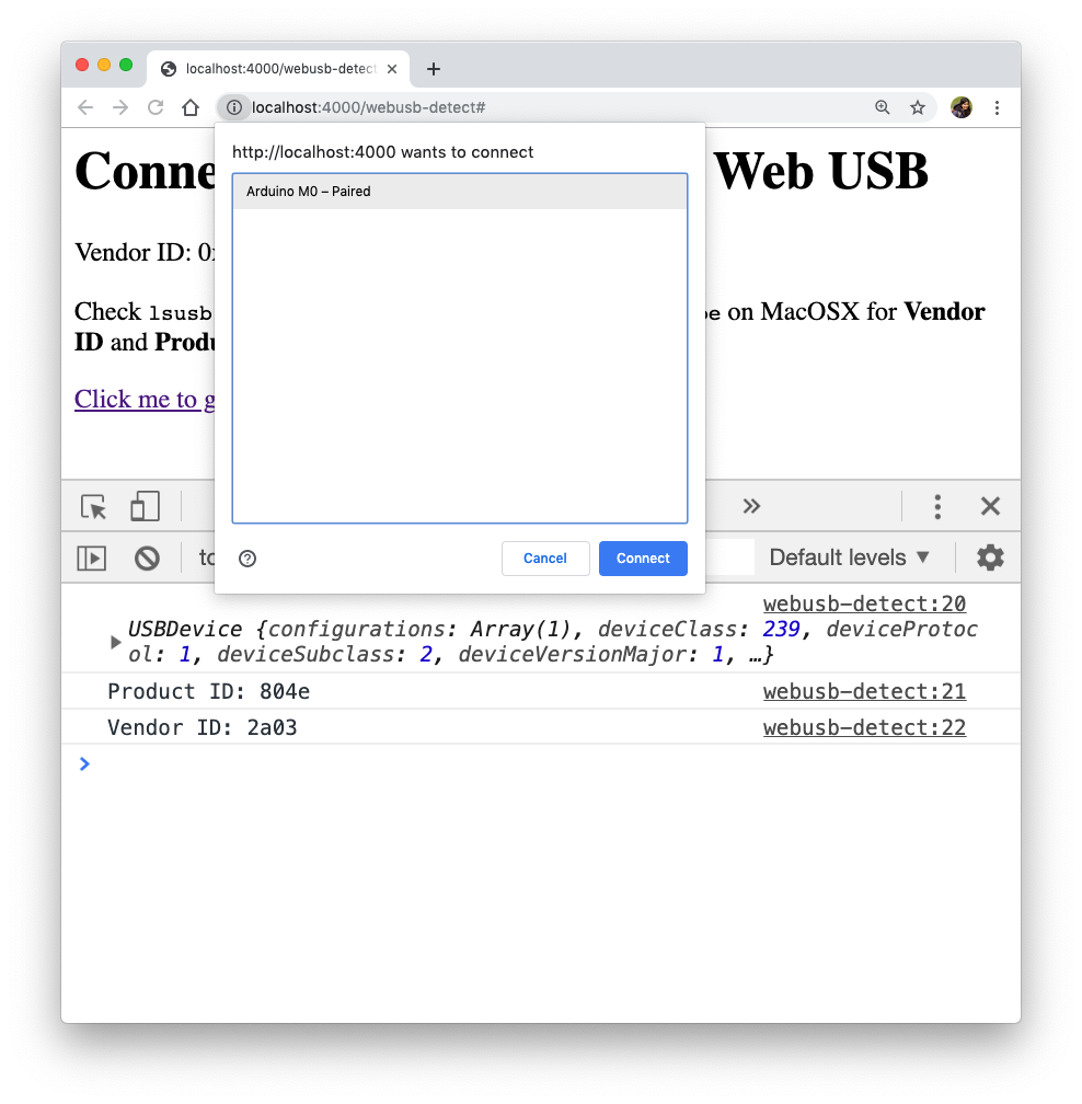 Web USB detect device browser