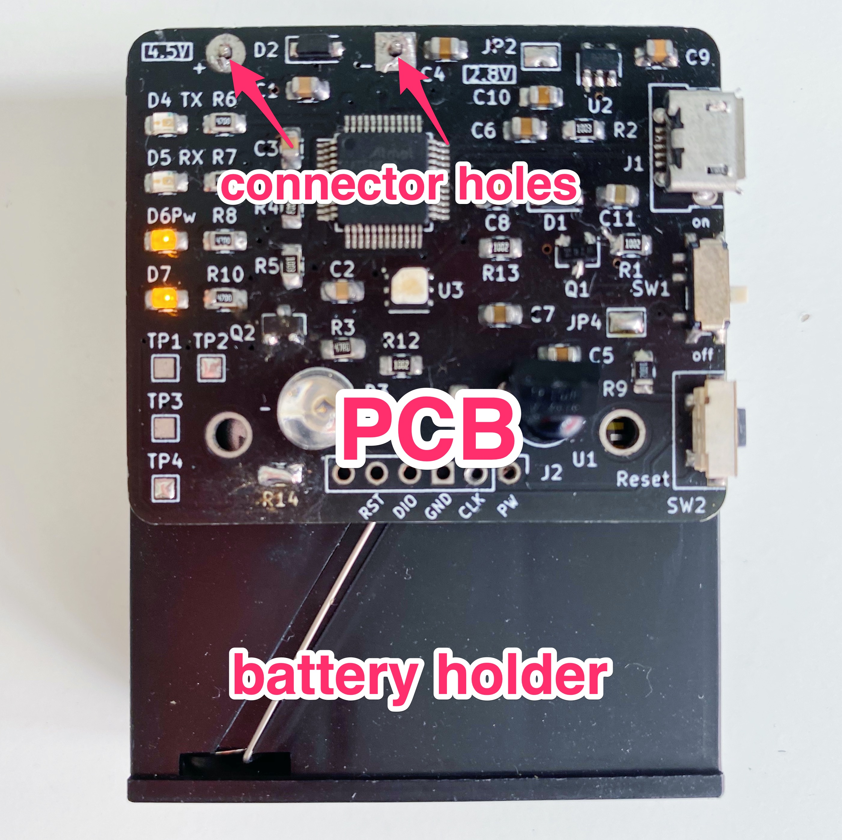 PCB battery connector holes